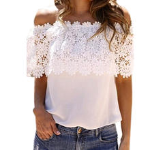 New Fashion Tops for Women Summer Hollow Lace Blouse Shirt Female Crochet Off Shoulder Chiffon Shirt Casual Tops