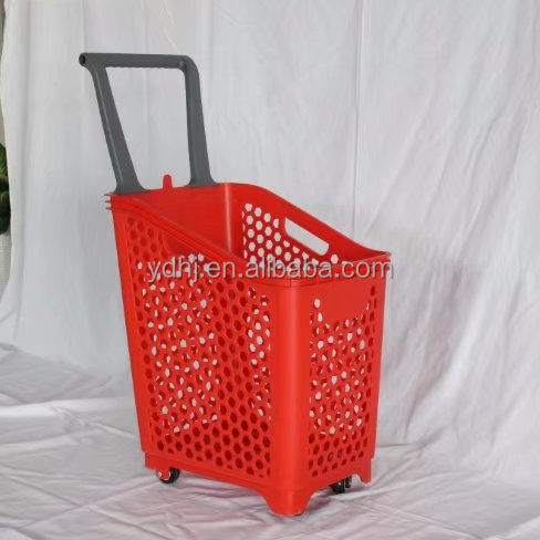 Large Volume Plastic basket Supermarket Shopping Trolley Hand Push Basket with four wheels