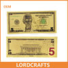 24k gold foil US dollor 5 currency banknote with color printing