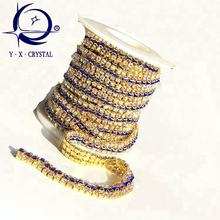 New Arrive D Shape Crystal Rhinestone Cup Chain Trims For Bags Shoes Decoration