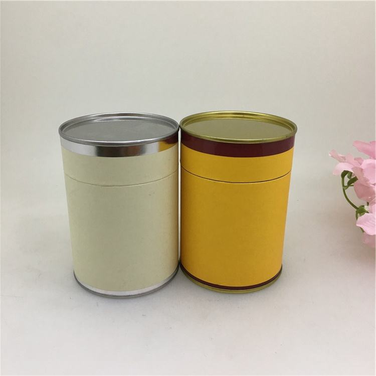 Whole Sale Round Tea Paper Can With Metal Lid And Bottom