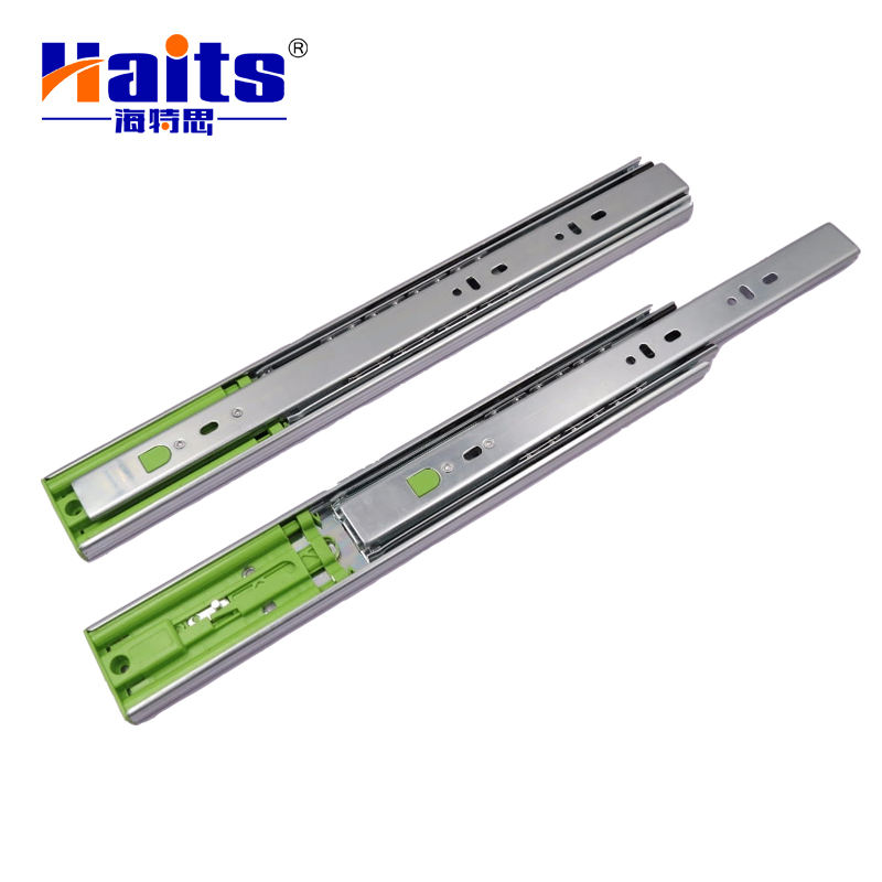 Center Mount Metal Drawer Slide Rail Heavy Kitchen 45Mm Telescopic Channel Slide Rail Ball Bearing Push Open Drawer Slide