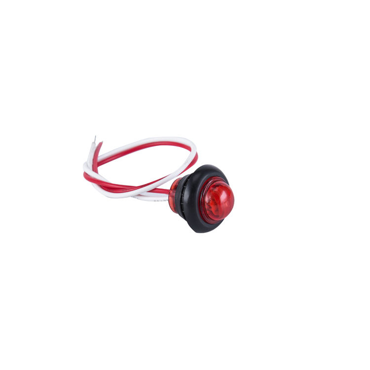 "12V SAE/DOT Certification LED Lights for 3/4"" inch Red Round Side Marker and Clearance Light for Truck, Trailer, Car, Caravan"