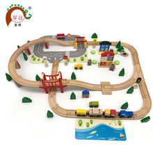 Popular children's wooden railway toy train set/wooden train 3d