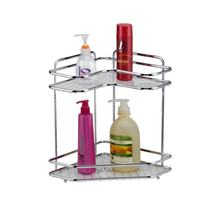 Fashionable  shower dual tier rack 2L chrome metal bath shelves for bathroom