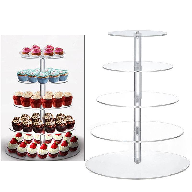 Universal clear acryl bruiloft ronde cup cake display houder/stand
