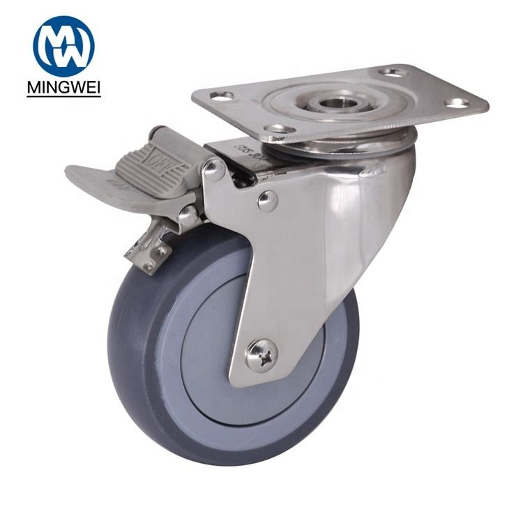 "High Quality 4"" Medium Duty Stainless Steel Precision Double Ball Bearing Swivel TPR Casters with TPR Brake"