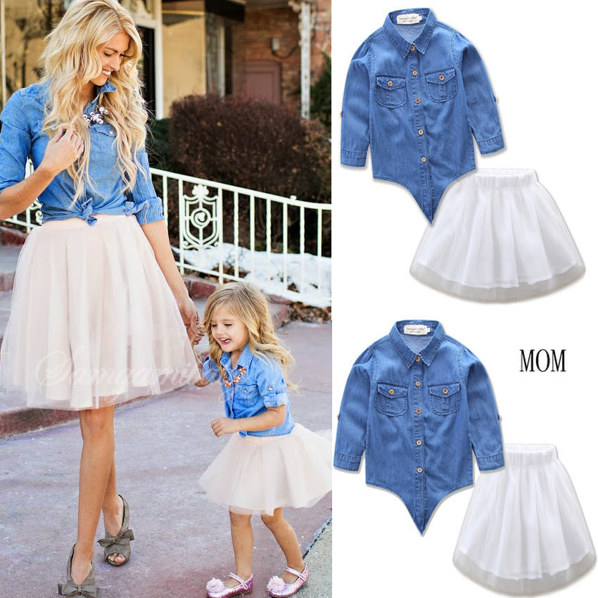 long sleeve jeans blouse matching outfits for mother and daughter with tutu dress