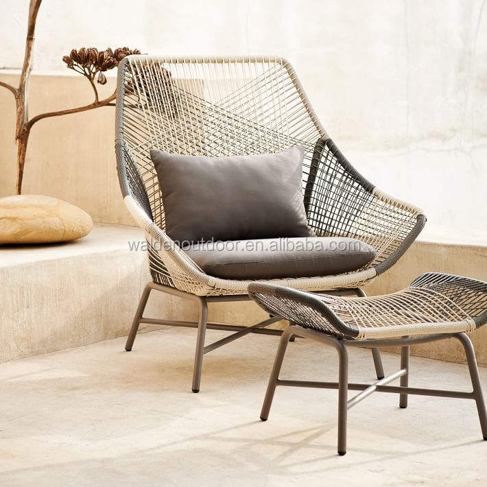 Walden patio rope woven chaise lounger chairs/ Wicker relining chair/ Rattan garden outdoor chair