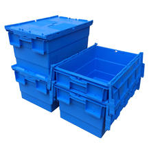 Stackable & Nestable Large Plastic Moving storage Box with lid for sale