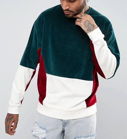 custom fashion blank mens velour dropped shoulder sweatshirt with stitched oversized crewneck