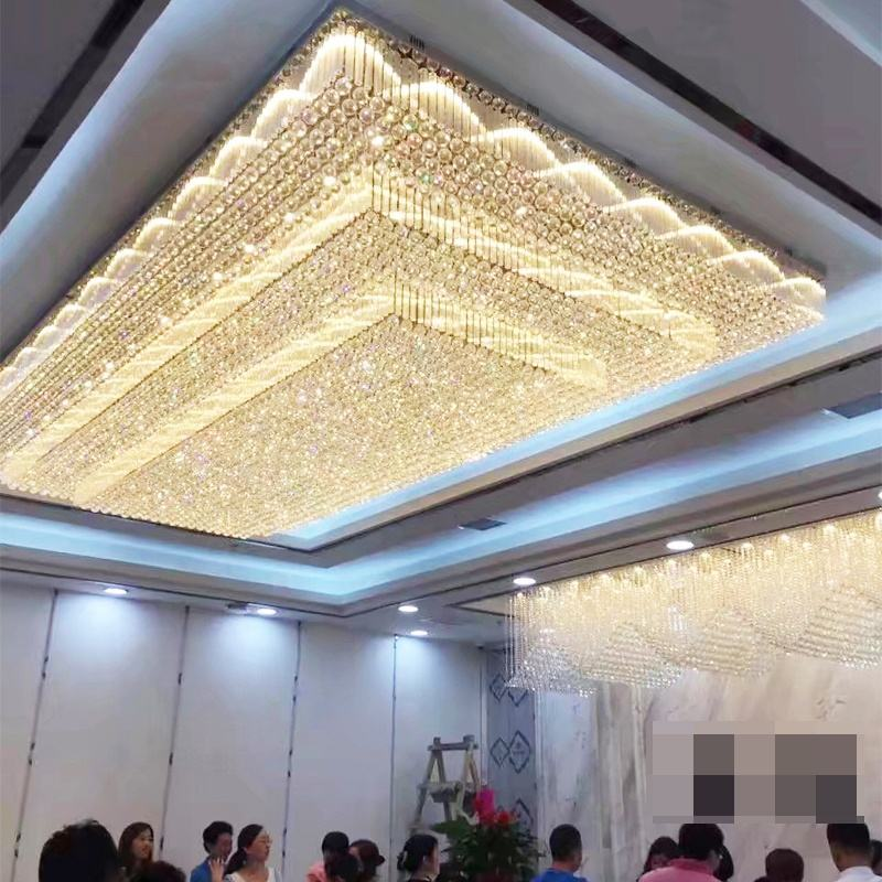 Custom K9 Large wedding Chandelier modern LED crystal chandeliers ceiling lighting for banquet ETL60362