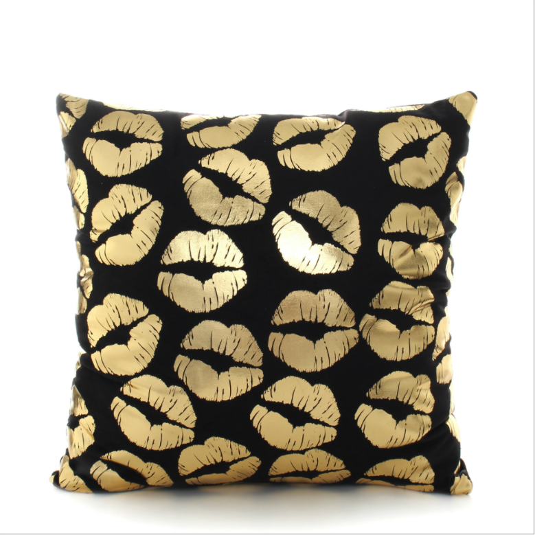 Customized Black Bottom Layer Golden Unique Pillow Cover Throw Pillowcase
