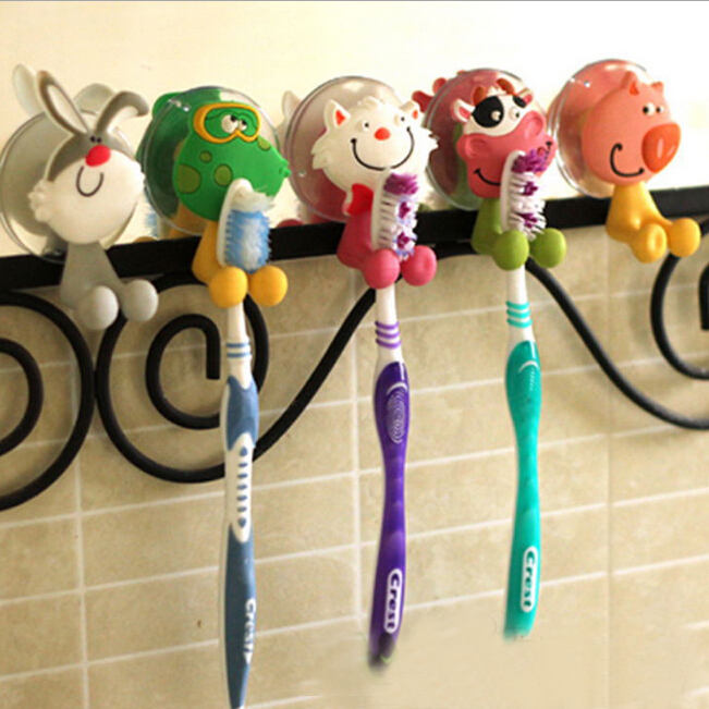 Wholesale cartoon silicone tooth brush holder for kids