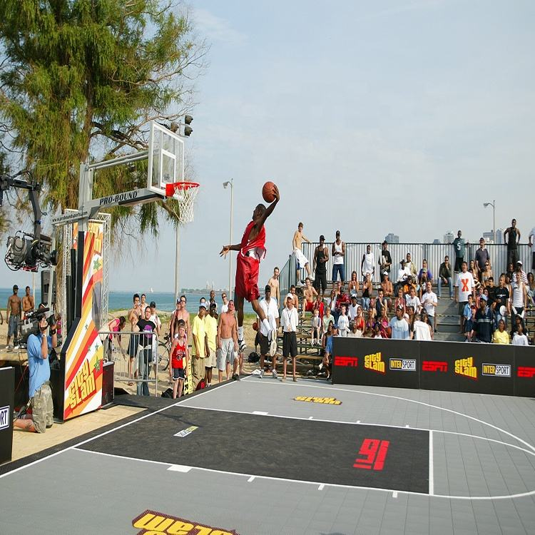 FIBA approved removable PP interlocking grid outdoor sports flooring for 3X3 basketball court