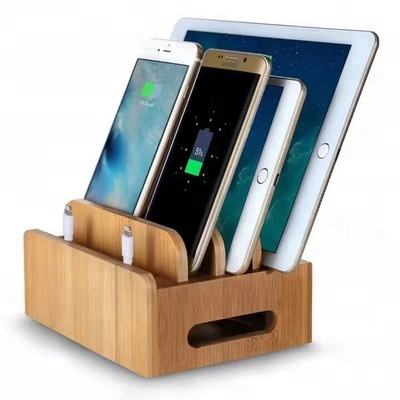 2018 NEW Design Docking Stations Organizer Stand Desktop Bamboo Wooden Charging Station Box for Phones