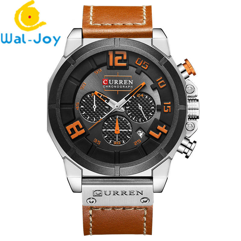 WJ-6554 Japan Movt Three Small Dial Work Fashion Watch Men Popular Luxury Curren Quartz Handwatches With Date Water Resistant
