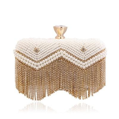 ELB066 Handmade metal clutch ladies gold and silver evening handbags clutch tote bags stone beaded party online shopping India