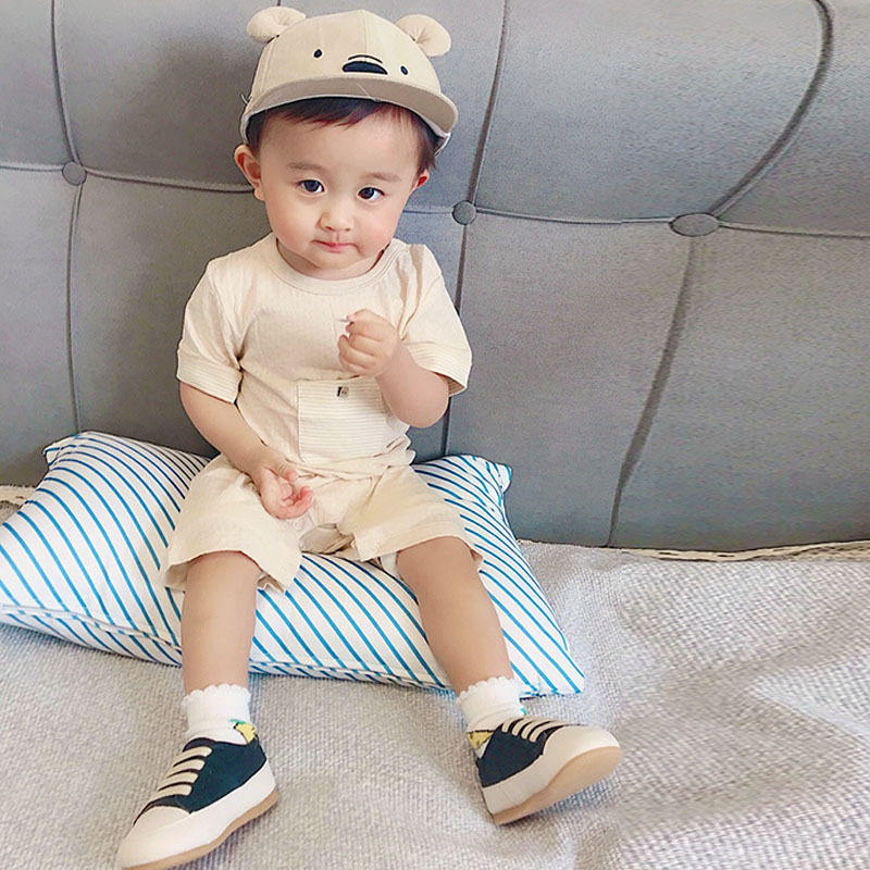 baby clothing Short sleeve color jacquard baby's jacket baby's summer pajamas neonatal clothes crawl clothes