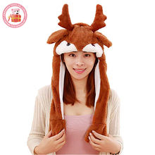 Stuffed plush warm animal head hat