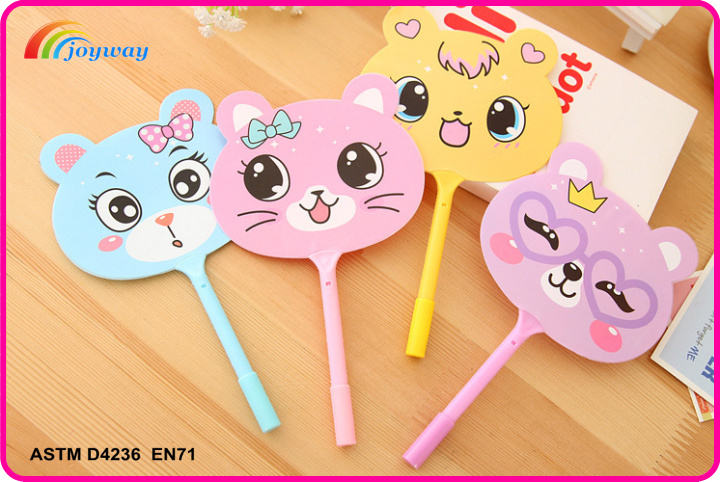 Hot sale creative cute design plastic promotional ball pen with hand fan