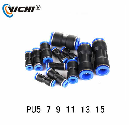 YICHI PU5 PU7 PU9 PU11 Pneumatic One Touch PU Straight Plastic Tube Air Connector Quick ConnectPneumatic Fitting