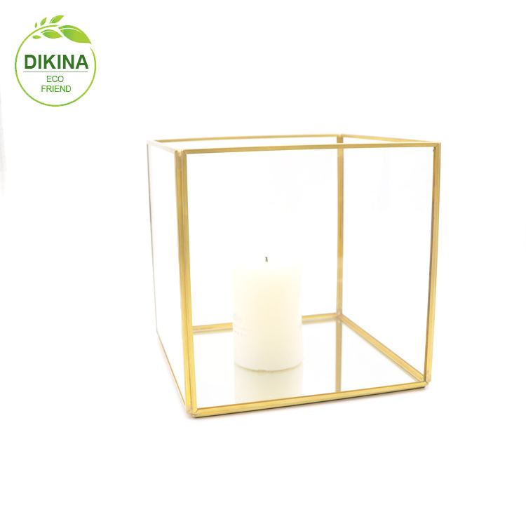 2019 Best-selling wedding gift Outdoor Glass Metal Grave square cheap candle lantern