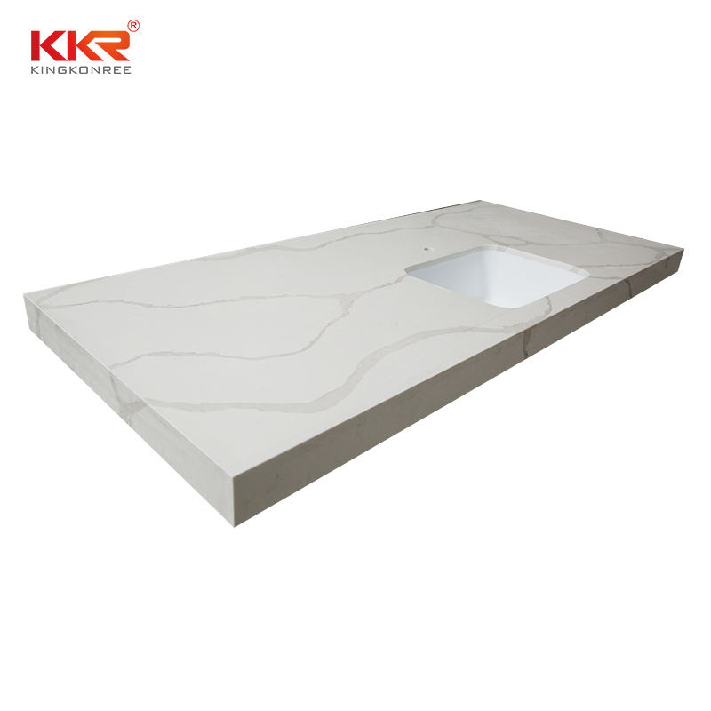China White Sparkle Quartz Stone Kitchen Countertop Acrylic Resin Solid Surface Vanity Top