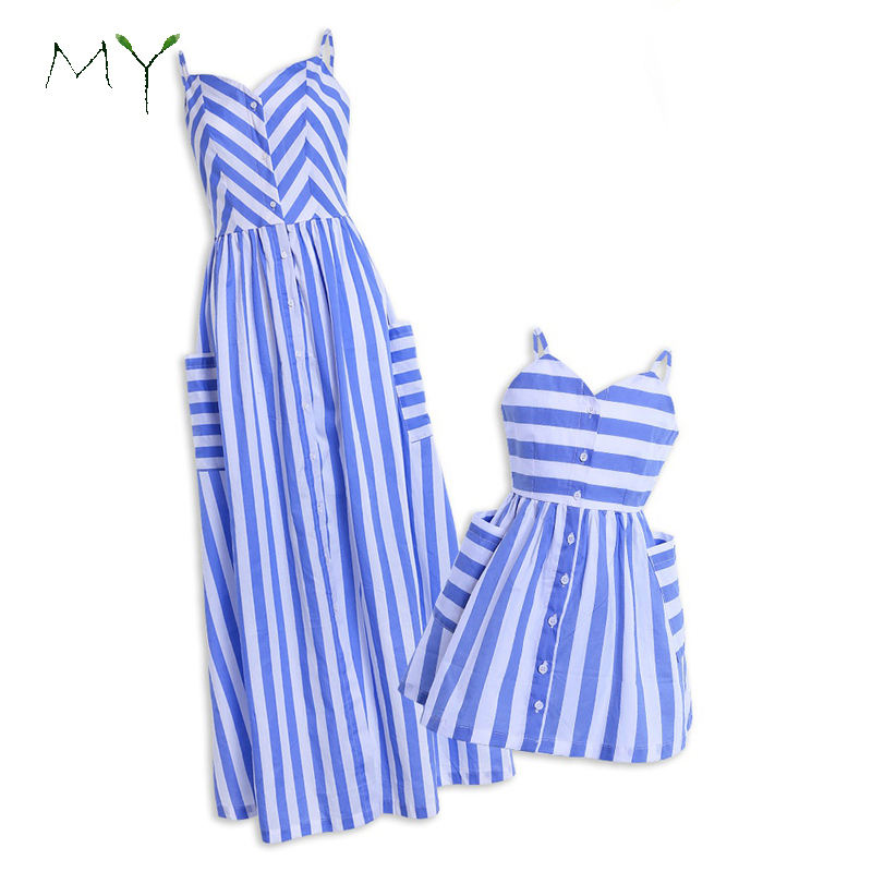 Mommy and Me Family Outfits Mother and Daughter V-neck Striped Matching Maxi Dress in Blue