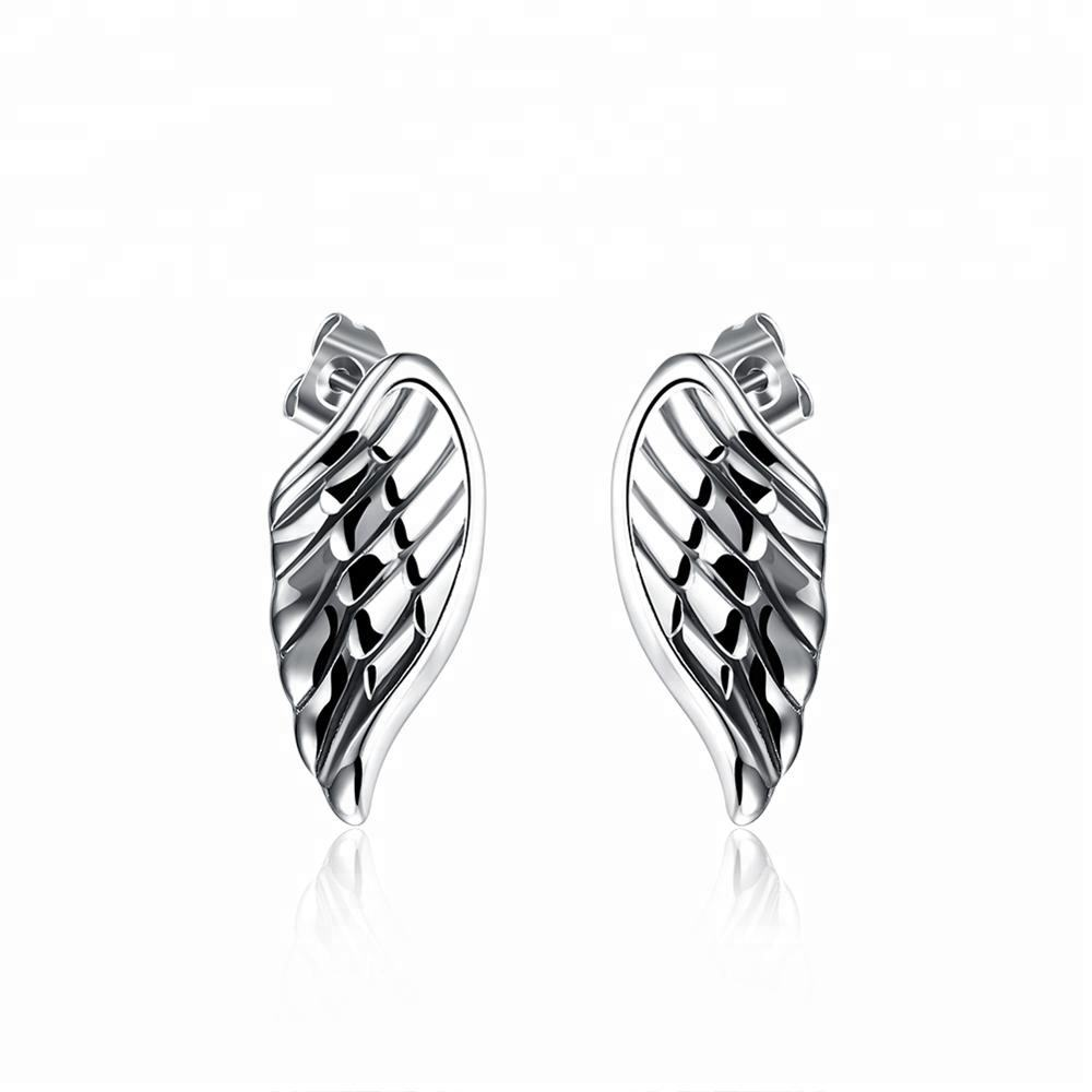Fashion 316L Stainless Steel Angel Wing Stud Earrings Jewelry Accessories Wholesale