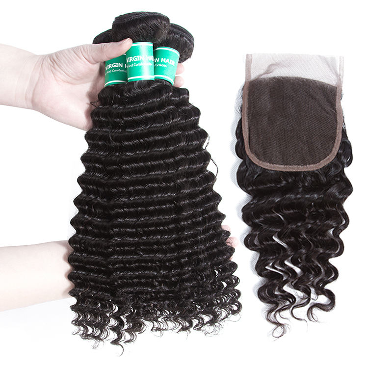 Brazilian Natural Virgin Hair Deep Wave Bundles With Closure