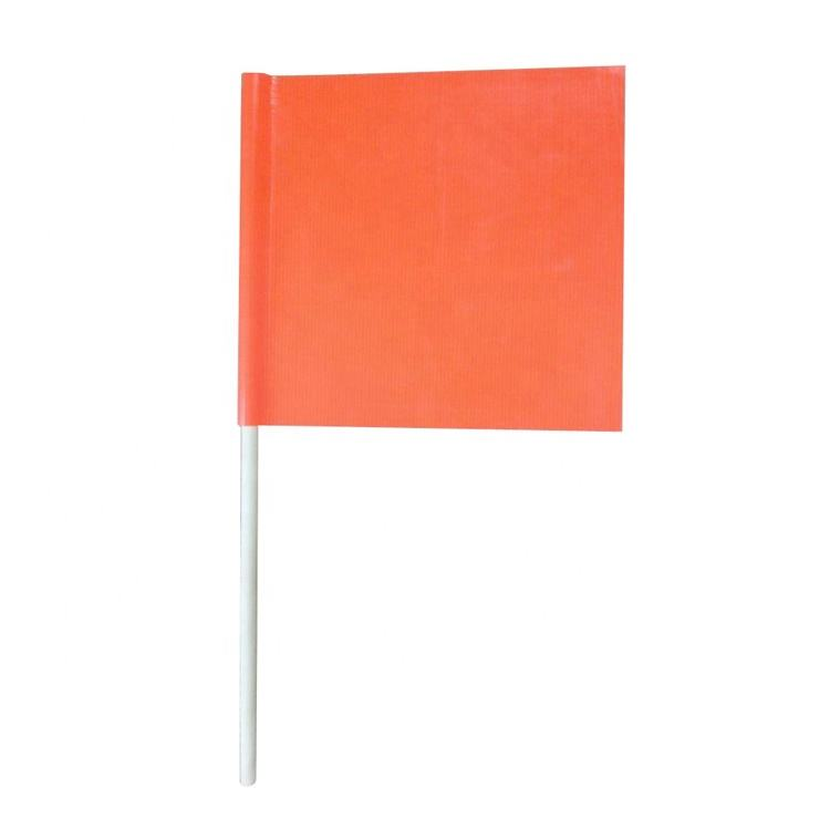 Custom Printed Wooden Pole Orange Pvc Mesh Load Safety Marking Construction Flag