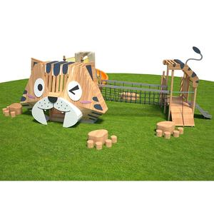 New design garden wooden cat modelling outdoor climbing and slide playground game sports equipment for kids