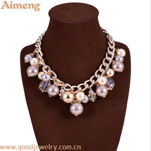 Multi - layer tassel pearl exaggerated necklace with color plating.