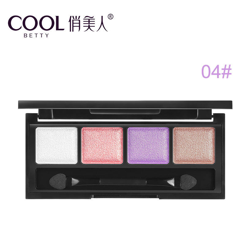 4 colors high quality make up shimmer eyeshadow pan with brush