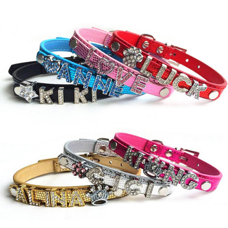 PU Leather Bling 10MM Rhinestone DIY Name Personalized Dog Collar