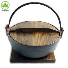 Cast Iron Japanese Sukiyaki Dutch Oven Outdoor Camping Dutch Oven Pot with Wooden Lid