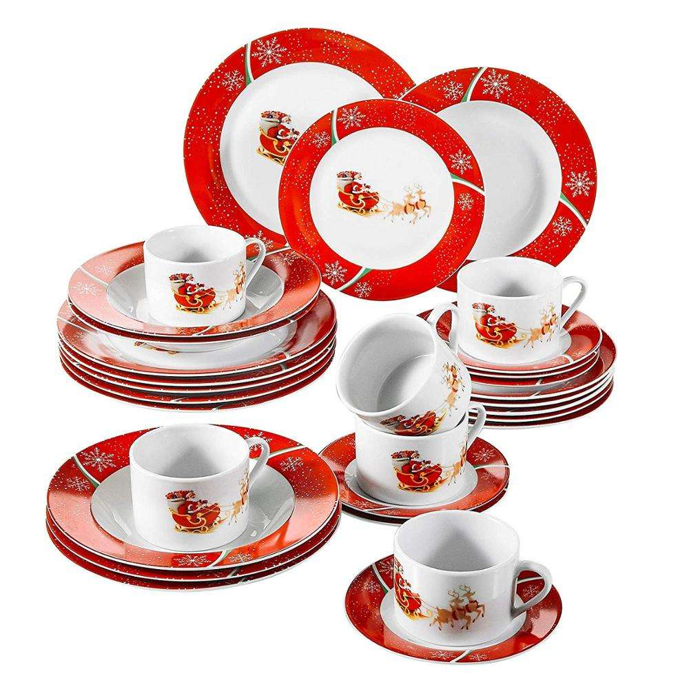 Europe style 30pcs porcelain /ceramic dinner table set with XMAS DESIGN