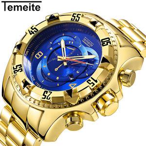 TEMEITE 020G-3 hot sell Men's watches Luxury Gold Watch Men Big Dial Quartz Business Wristwatch Waterproof Relogio Masculino