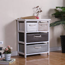 straw woven drawers living room mini wooden chest of drawers