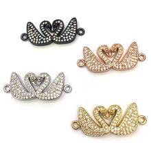 CZ7103 New arrival cz micro pave white clear swan charm connector,Cubic zirconia animal accessories beads