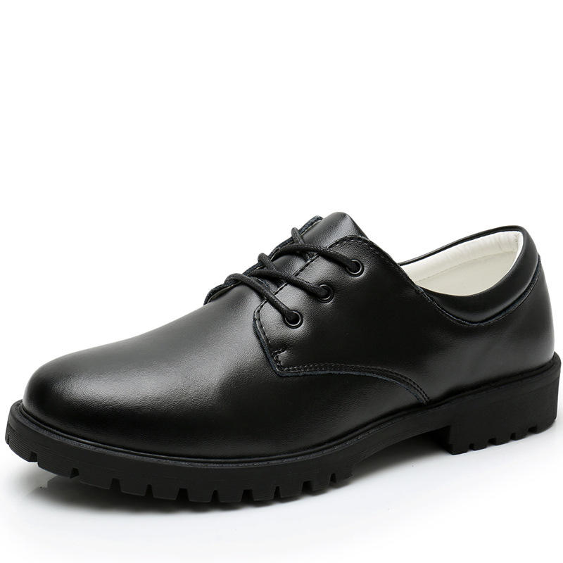 Children's shoes black adult college students men's boys school casual tied lace leather shoes
