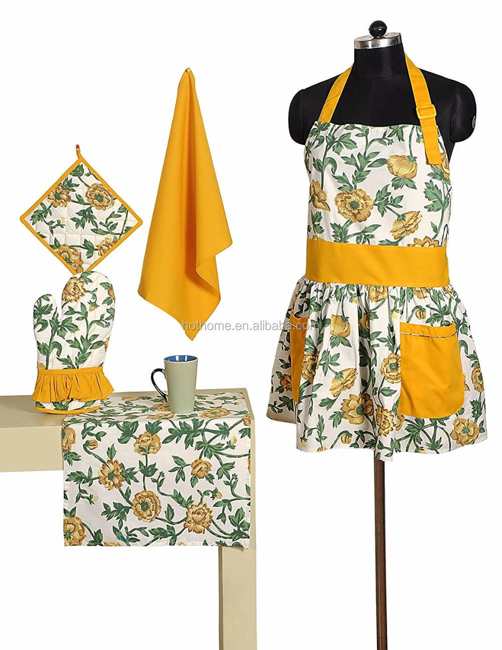 Classical Factory Wholesale Uniform Apron Women Cooking Accessories Pot Holder and Water Resistant Oven Mitt