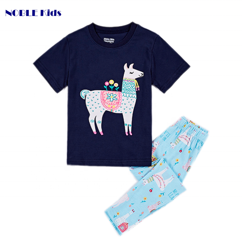 high quality organic cotton children pajama sets wholesale round neck printed kids girls animal nightwear