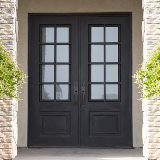 modern french outdoor design tempered glass entry wrought iron doors