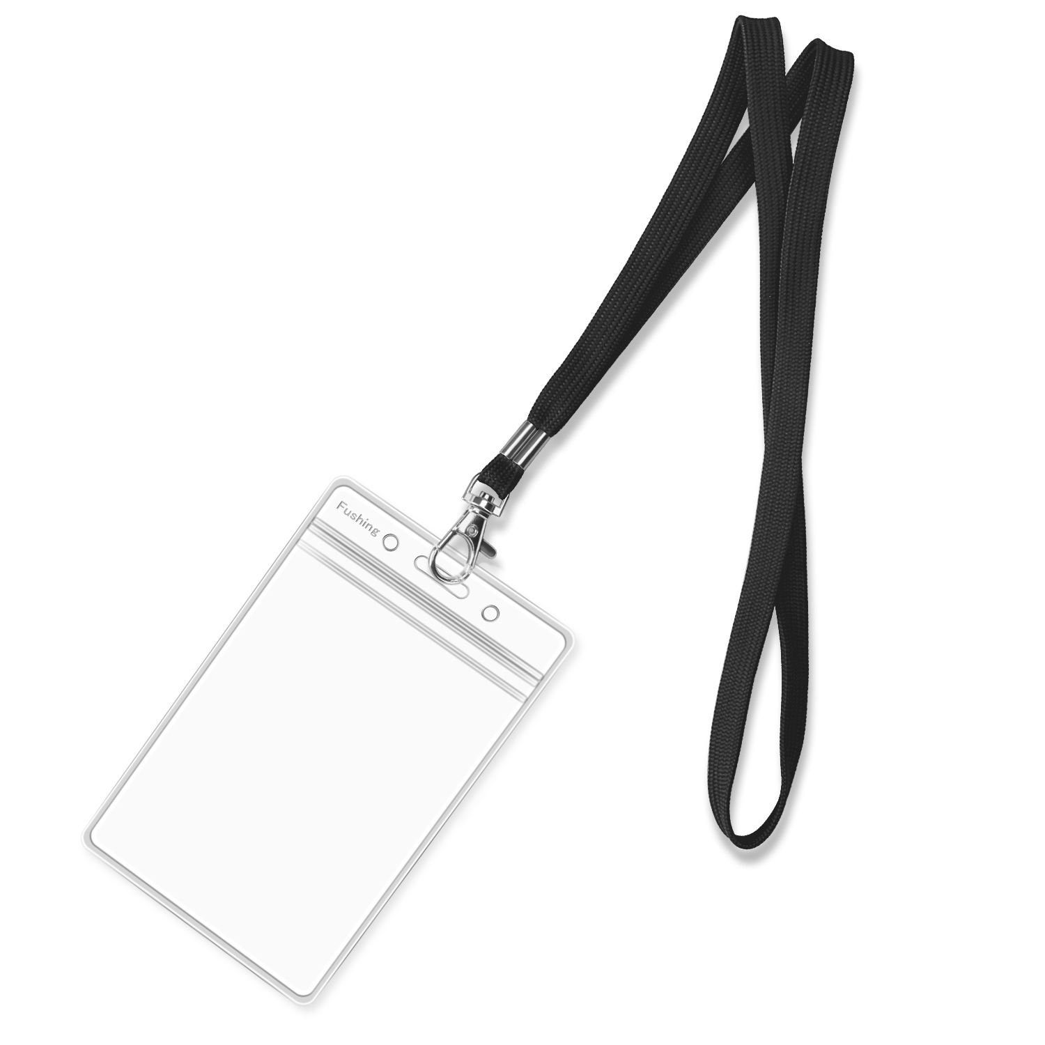 Clear Plastic Vertical Name Tags Badge ID Card Holders and Black Neck Lanyards with Swivel Hook For School, Festival, Event