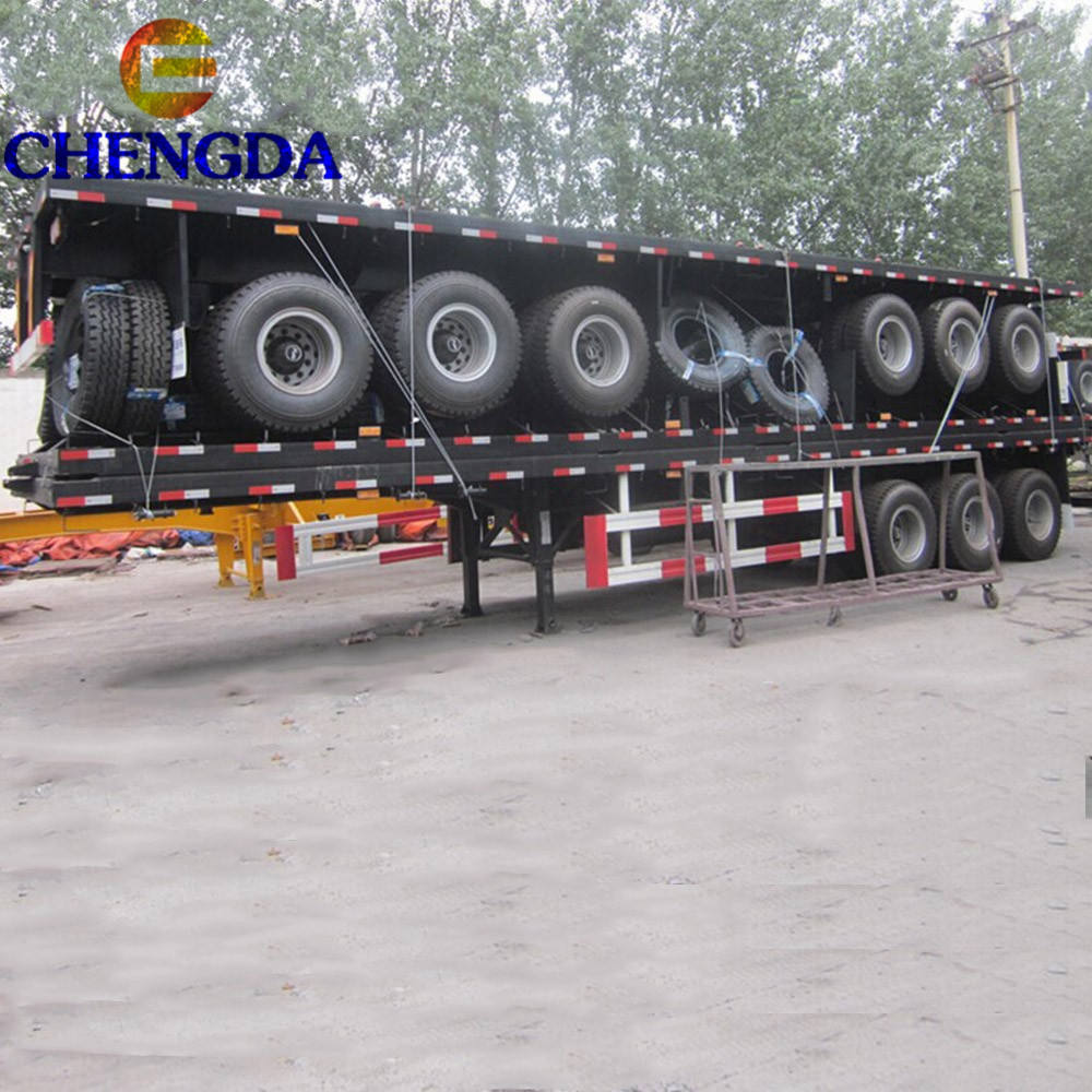 High Quality 40 45 Ft 3 Axles Flatbed Container Semi Trailer With Best Price