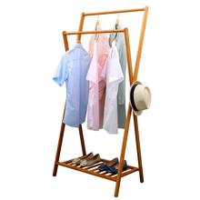 Foldable Bamboo Garment Rack Wooden Clothes Hanger Organizer Clothes Drying Rack With Shoe Shelves