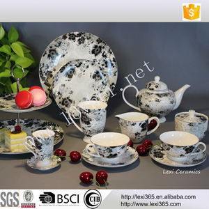 wholesale royal fine bone china tea set with decal for home