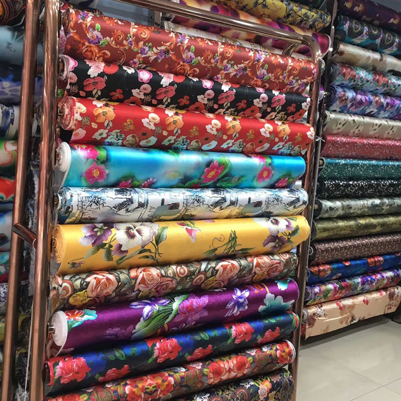 Wholesale Customer digital Printed Silk Stretch Satin Fabric In Stock Silk Fabric